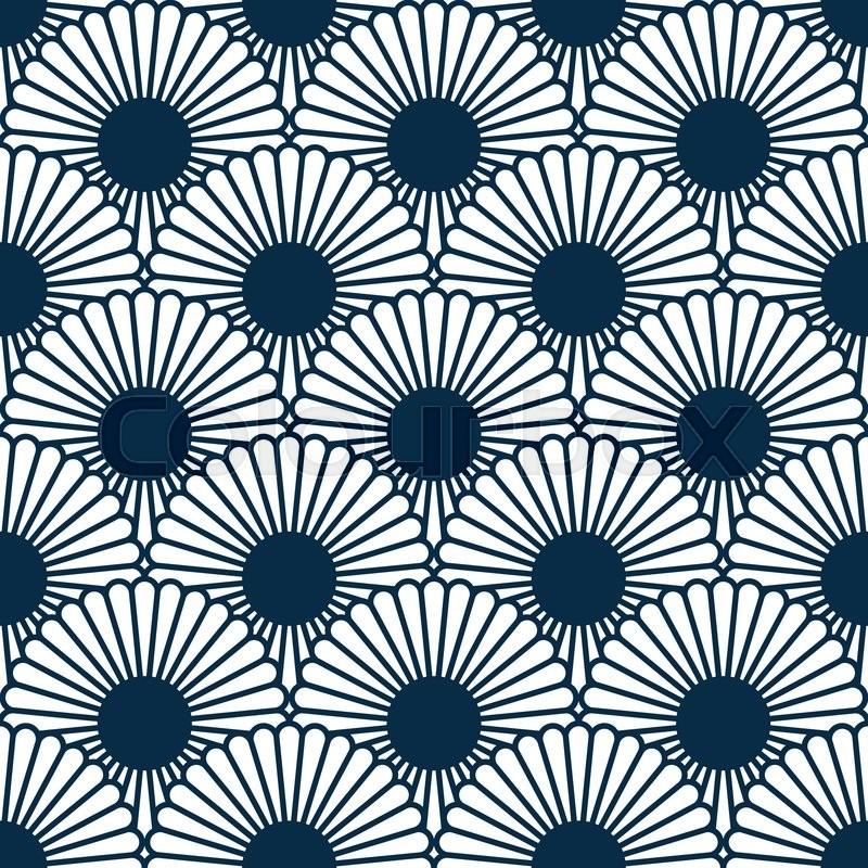 simple japanese style chrysanthemum seamless pattern traditional