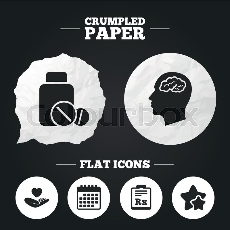 Crumpled Paper Speech Bubble Medicine Icons Medical Tablets Bottle