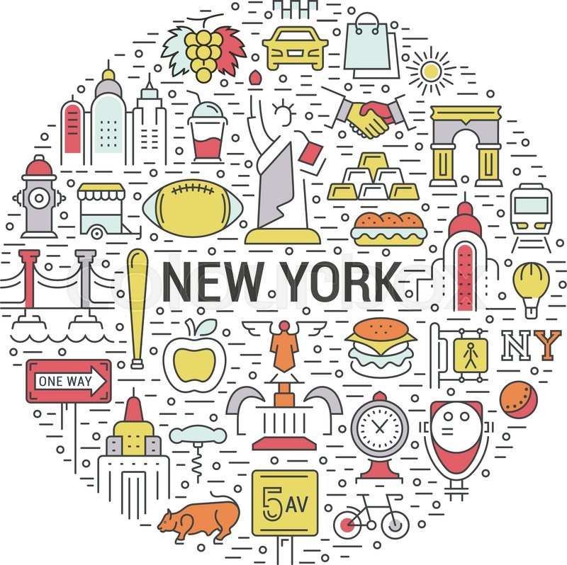 Usa And New York City Concept Symbols Isolated On Background Web