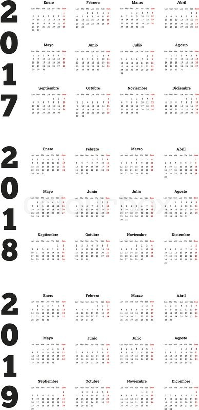 set of simple calendars in spanish on 2017 2018 2019 years isolated on white stock vector colourbox