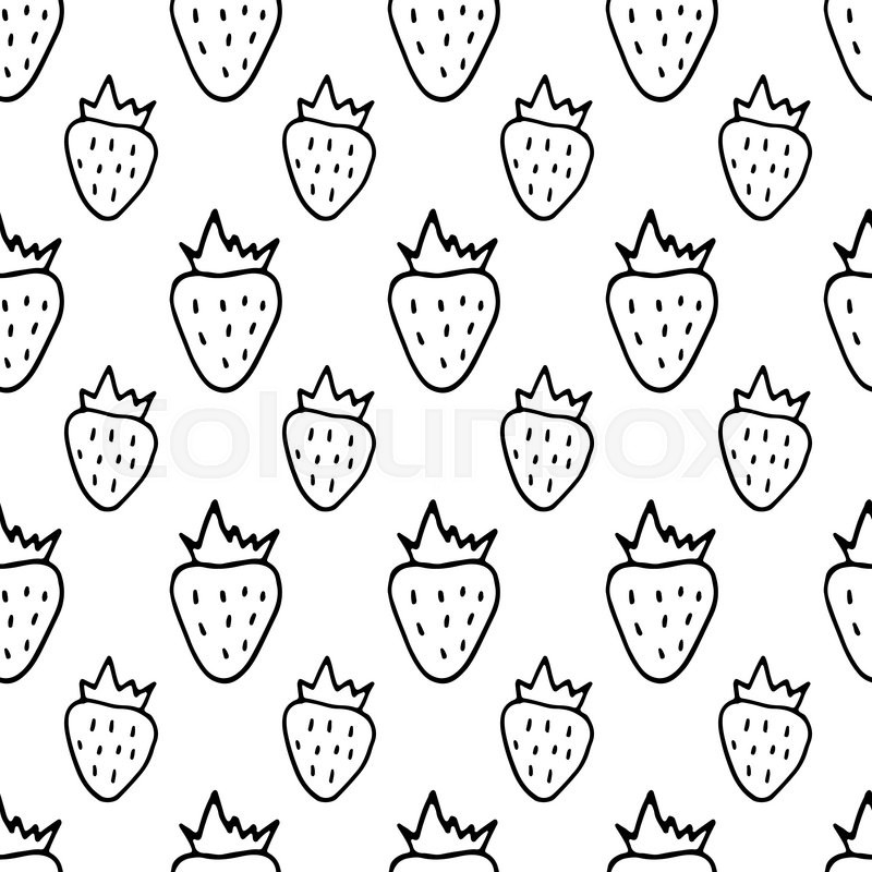 Cartoon Strawberry Pattern With Doodle Berry Cute Vector Black And Inspiration Strawberry Pattern