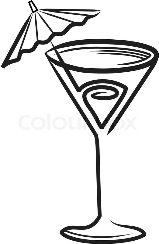 Stock vektor af 'Cocktail glas med paraply clipart'