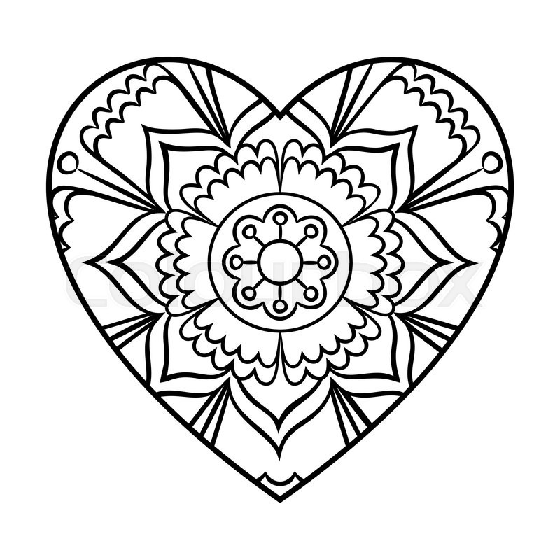 Doodle Heart Mandala Coloring Page Outline Floral Design