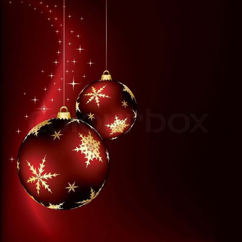 a christmas design with two red baubles | stock vector | colourbox