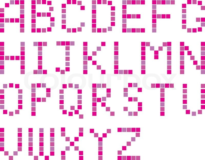 pixel art letters vector set of color pixel alphabets stock 11372