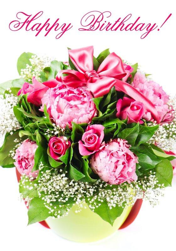 Stock bild von bouquet von bunten blumen mit band