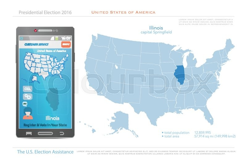 United States of America maps and Illinois state territory. vector ...
