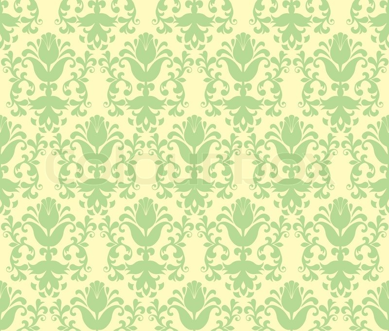 Loral Light Green Floral Wallpaper Stock Vector Colourbox