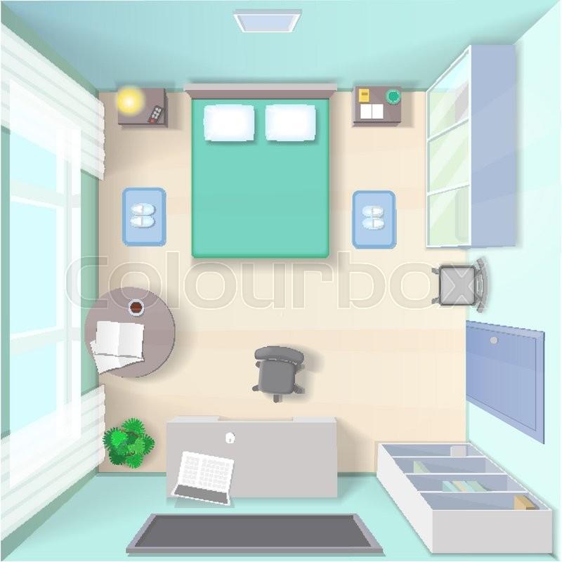 Bedroom interior design with bed stock vector - Best desktop for interior design ...