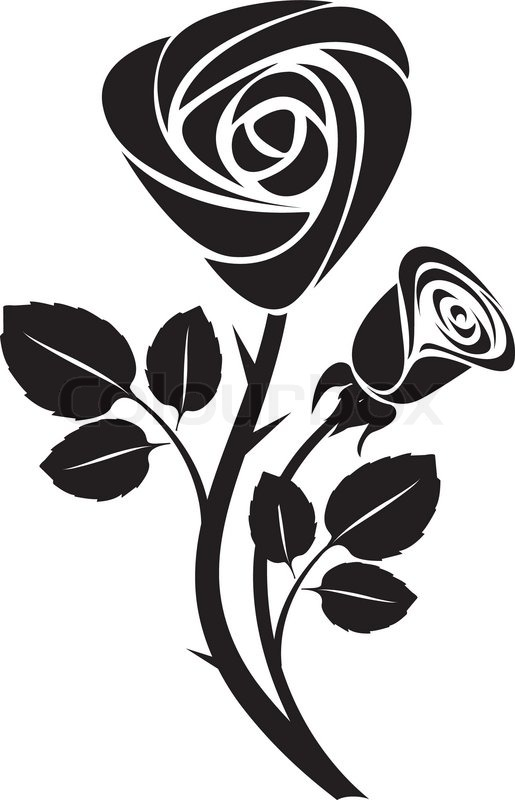 sketch black rose art colorful vector illustration stock vector rh colourbox com rose vector art free rose vector art black and white