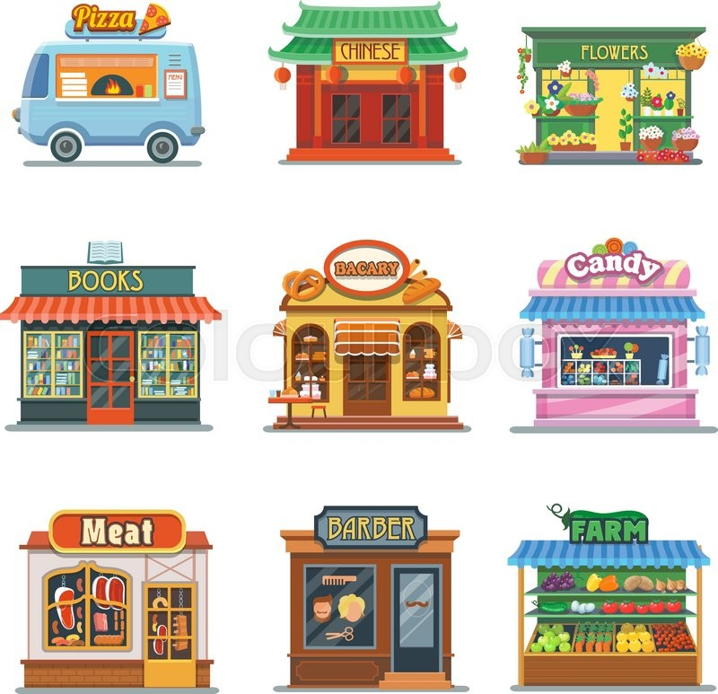 Set Of Nice Showcases Of Shops Pizza Stock Vector