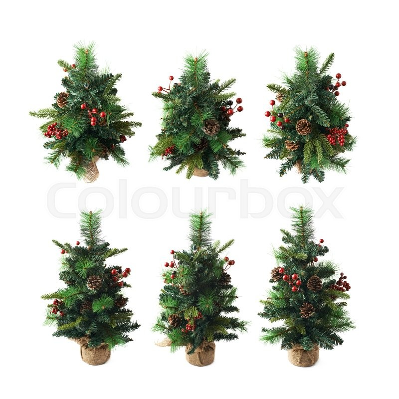 small artificial christmas spruce tree isolated over the white background set of six different foreshortenings stock photo colourbox - Small Artificial Christmas Tree