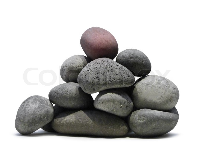 Smooth lava stones stacked pile on white background ...