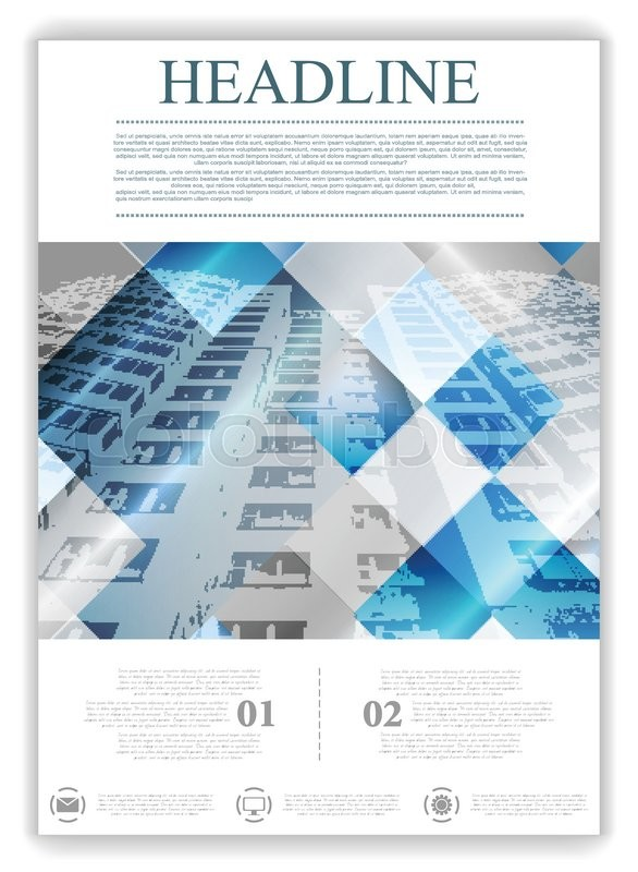 Abstract Geometric Brochure Template Layout With Skyscraper Vector