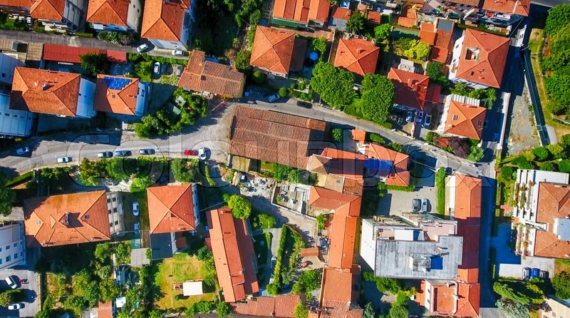 Overhead view of Pisan Homes, Tuscany, Italy, stock photo