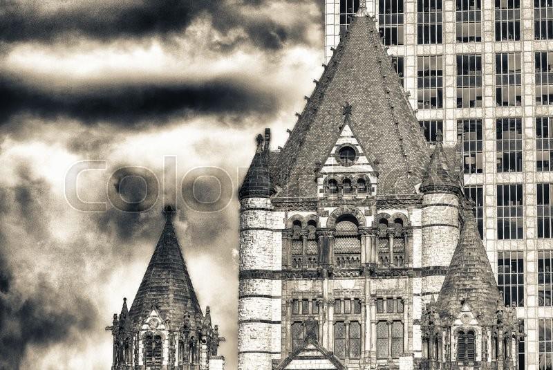 Trinity Church at Copley Square in Boston, stock photo