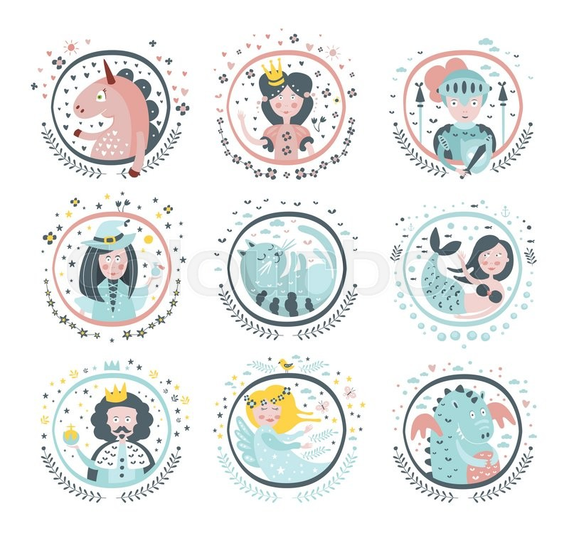 Fairy Tale Heroes Girly Stickers In Round Frames In Childish Simple ...