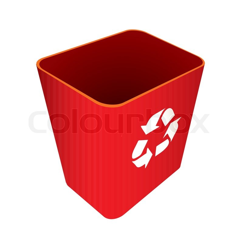 Stock vector of 'Red Recycle trash can or bin with symbol'