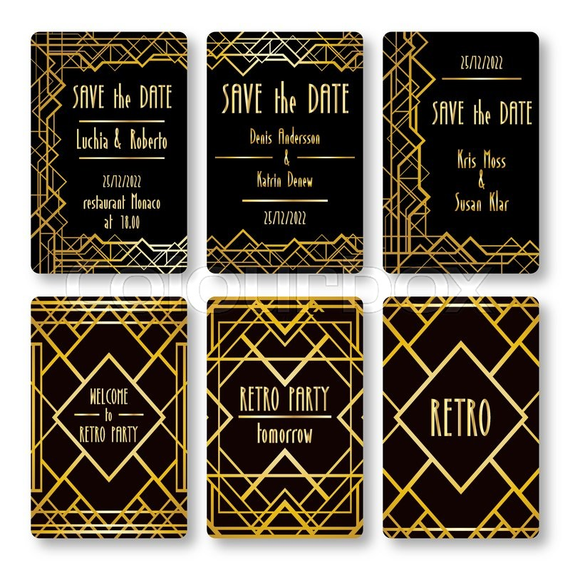 set of vector card templates in art deco style ideal for save the