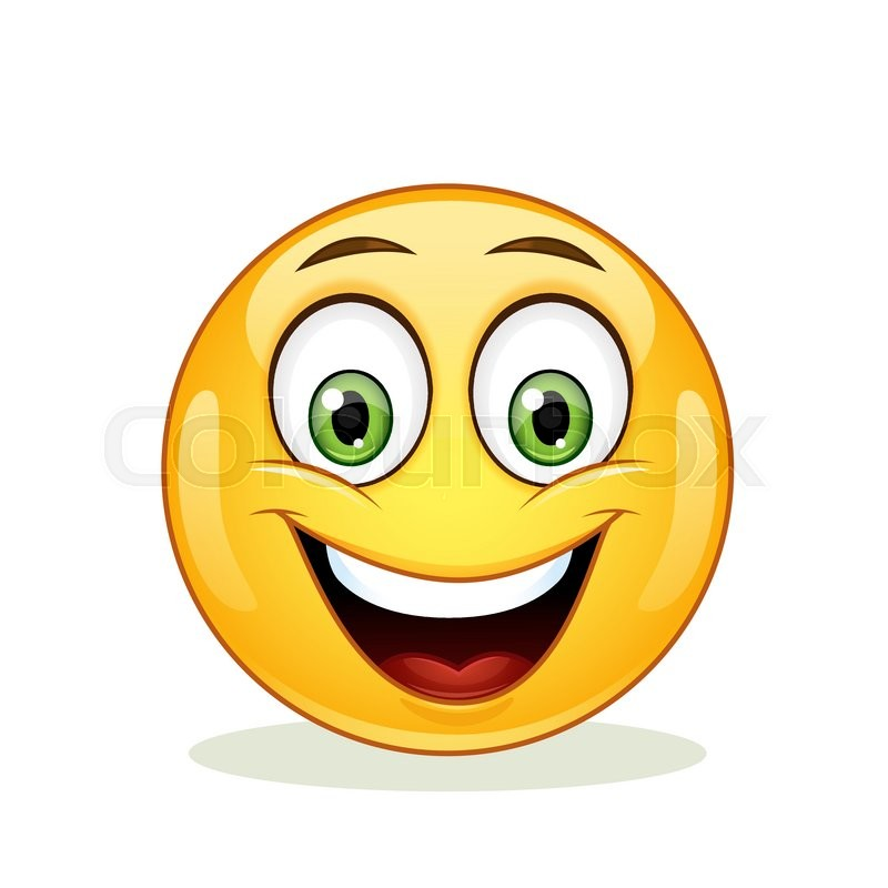 Emoticon with big toothy smile. Happy ... | Stock vector ...