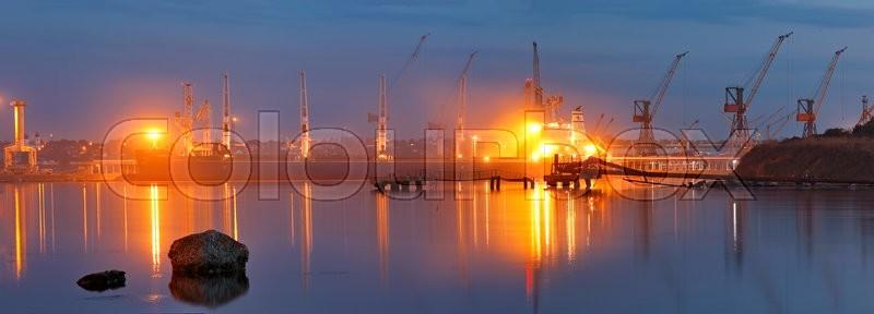 Tanker in the port. Harbor at night, Black sea, stock photo