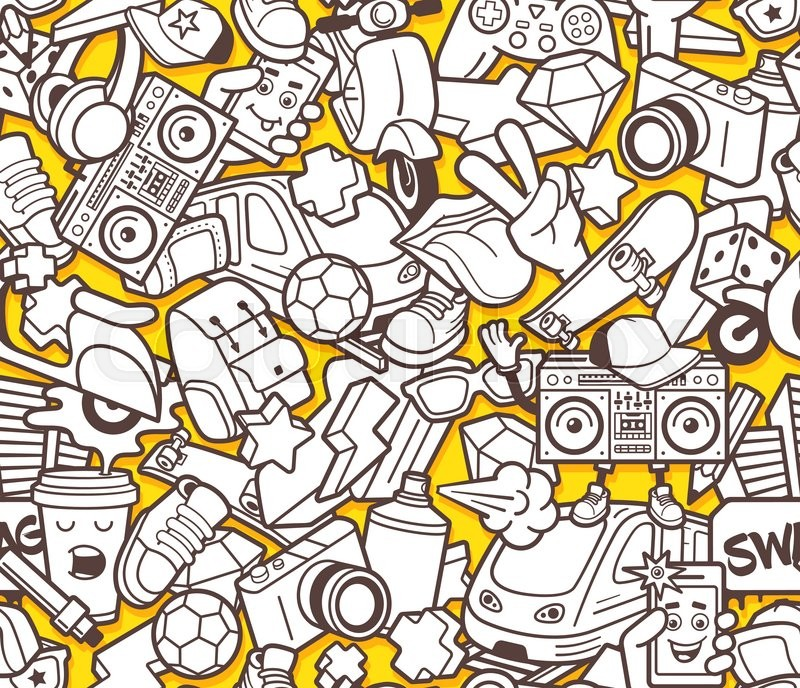 Graffiti seamless pattern with urban lifestyle line icons. Crazy ...
