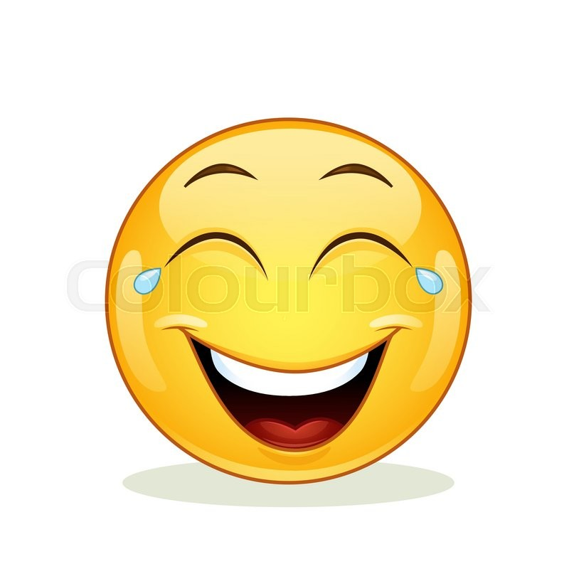 laughing emoticon with tears of joy vector illustration isolated on white background stock vector colourbox
