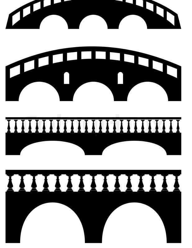 set of ancient stone bridge black silhouettes isolated rh colourbox com Computer Clip Art Religious Christmas Clip Art