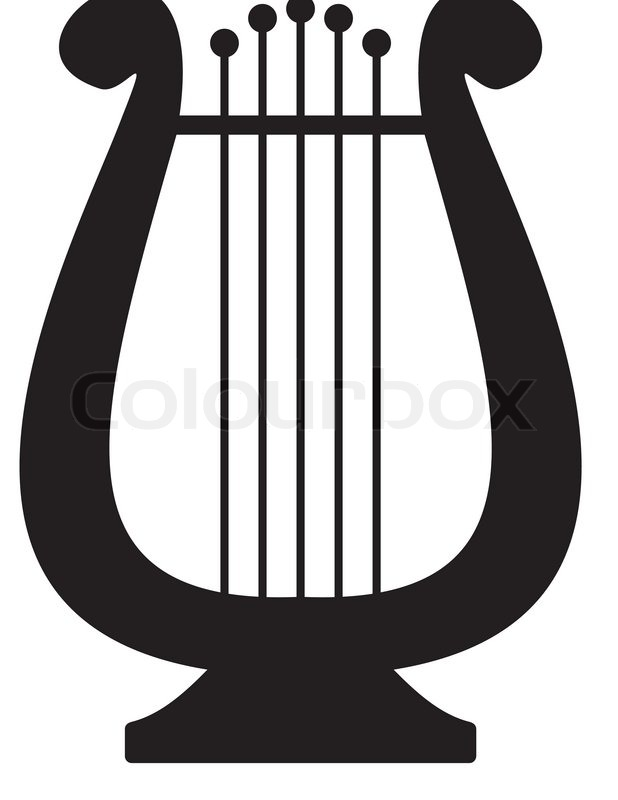 Lyre Symbol Of Music And Arts Isolated Black Illustration On