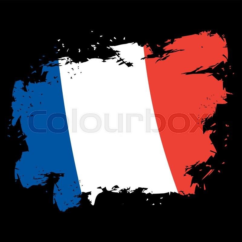 France Flag Grunge Style Brush Strokes And Ink Splatter National