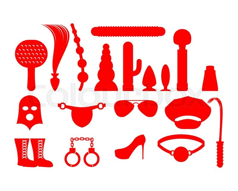 Sex icons for BDSM. Sextoys for xxx. Knut and gag. Leather whip and cap.  Vibrator and dildo. mask and Paddles. Handcuffs and anal tube, vector