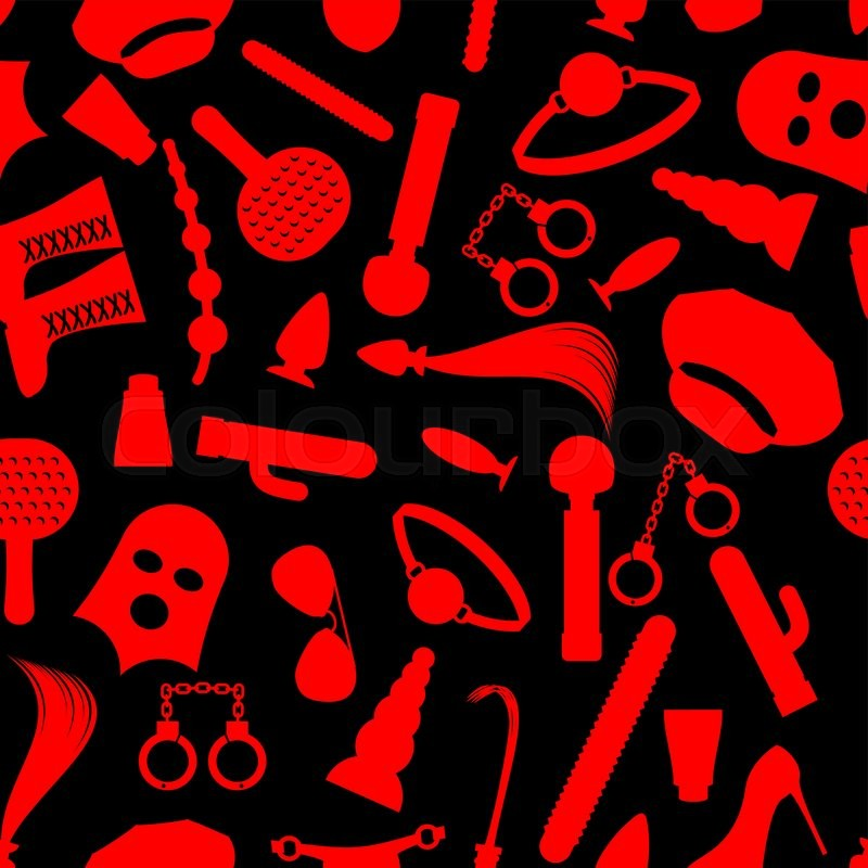 Fetish icons seamless pattern. ornament for lovers of hard sex. Accessories  sadist masochist love. Knut and gag. Leather whip and cap. Dildo and ...,  vector