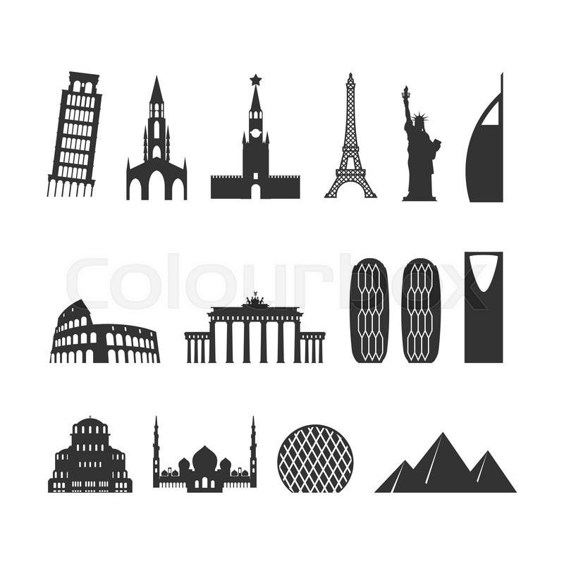 Landmark travel set. silhouette ... | Stock Vector | Colourbox | 800 x 800 jpeg 62kB