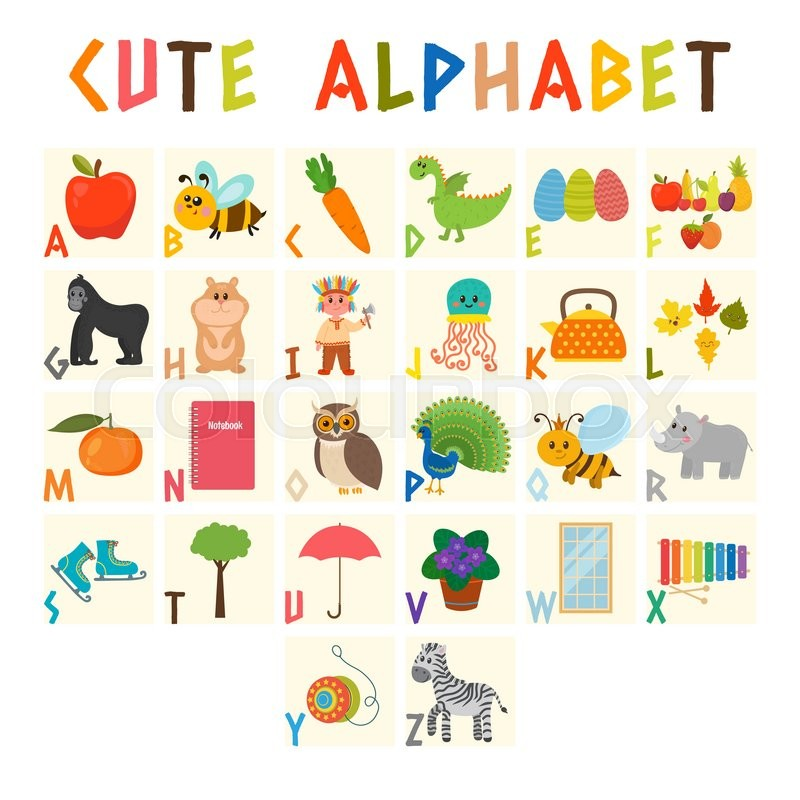 Children Alphabet With Cute Cartoon Animals And Other Funny Elements Vocabulary For Education ABC Vector Illustration