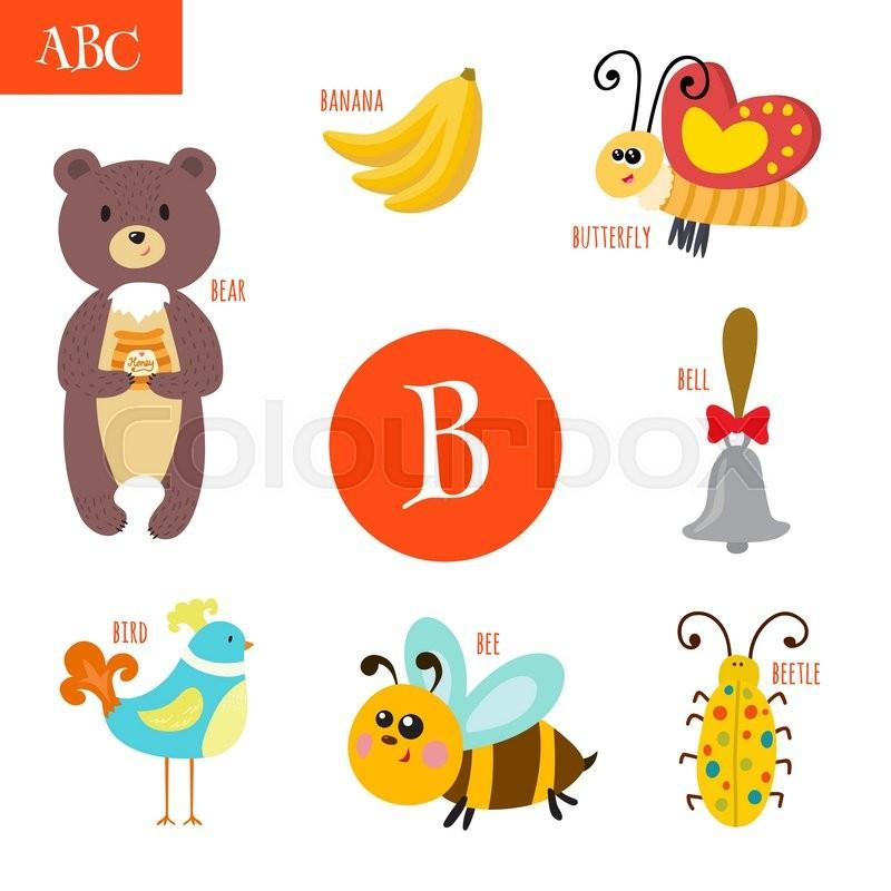 stock vector of letter b cartoon alphabet for children bear bee