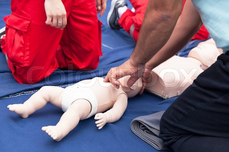 Cardiopulmonary resuscitation - CPR. Baby CPR dummy first aid training, stock photo