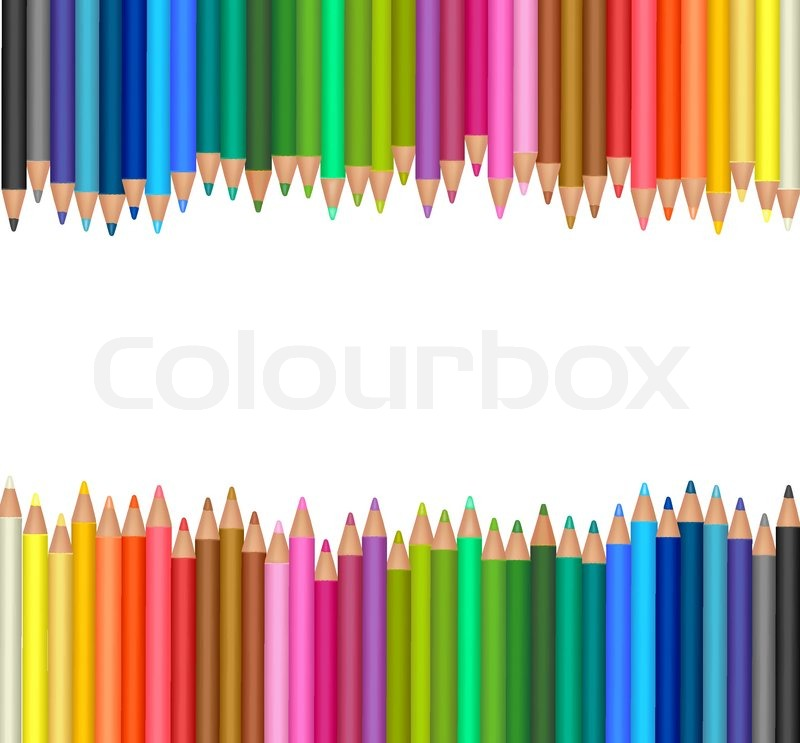 background with colored pencils. vector | stock vector | colourbox, Powerpoint templates