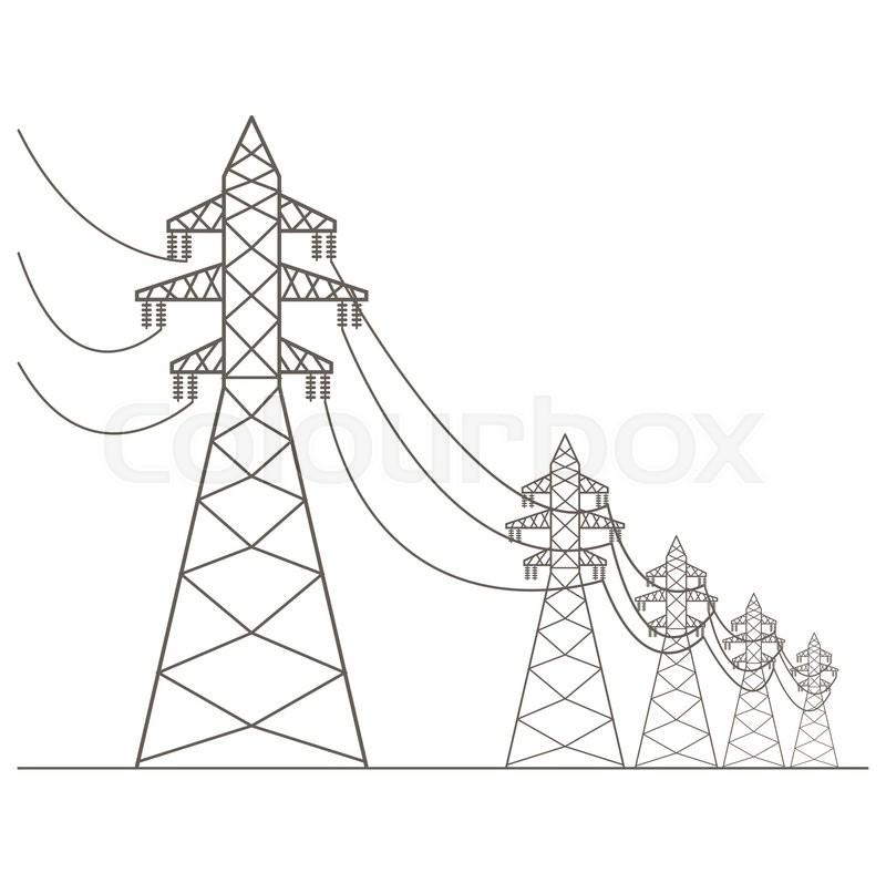high voltage electric line pylon  icon set suitable for creating infographics  web site content