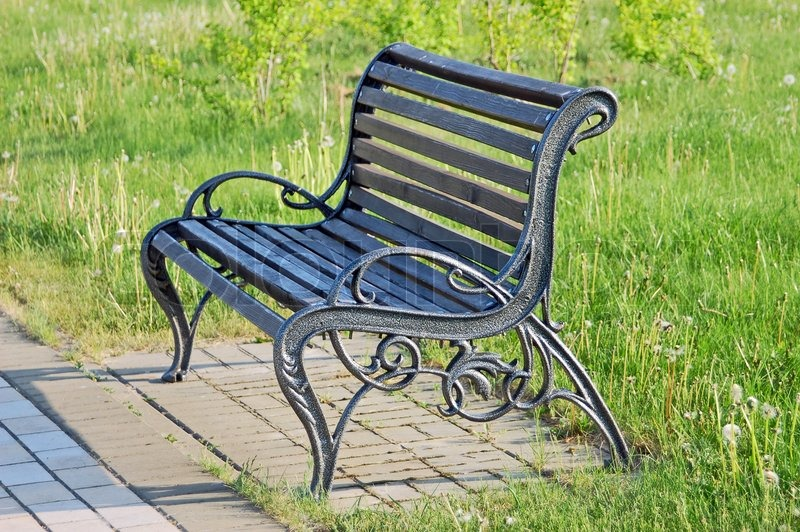 Bench in the park with grass on background | Stock Photo | Colourbox