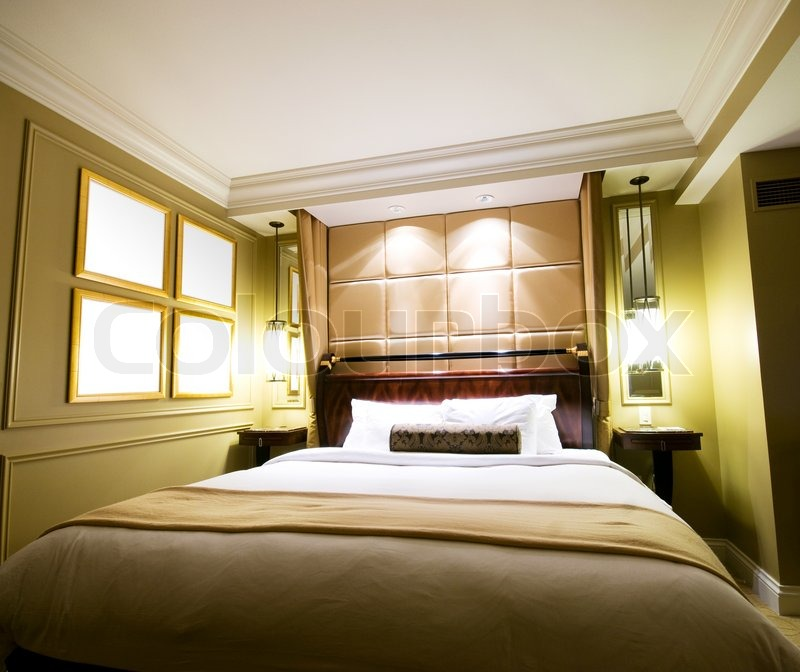 Double Bed In The Modern Interior Room Stock Photo