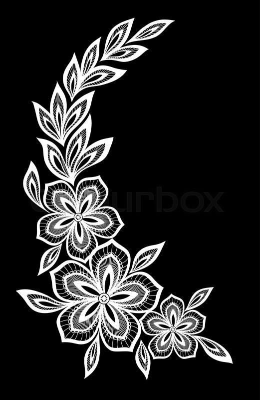 beautiful monochrome black and white flowers and leaves isolated floral design for greeting. Black Bedroom Furniture Sets. Home Design Ideas