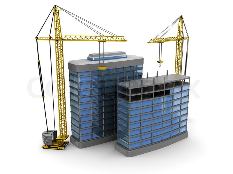 Abstract 3d illustration of modern building construction for Modern building construction