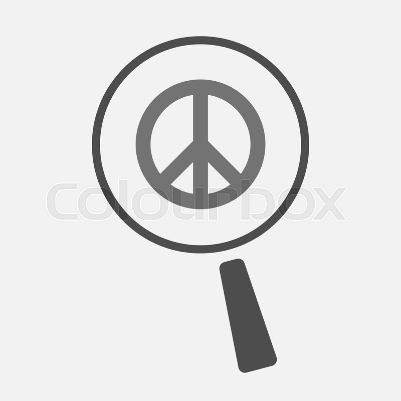 Illustration Of An Isolated Magnifier Icon With A Peace Sign Stock