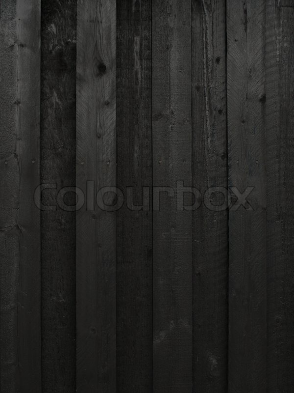 Black Painted Wood Wall With Vertical Boards Stock Photo