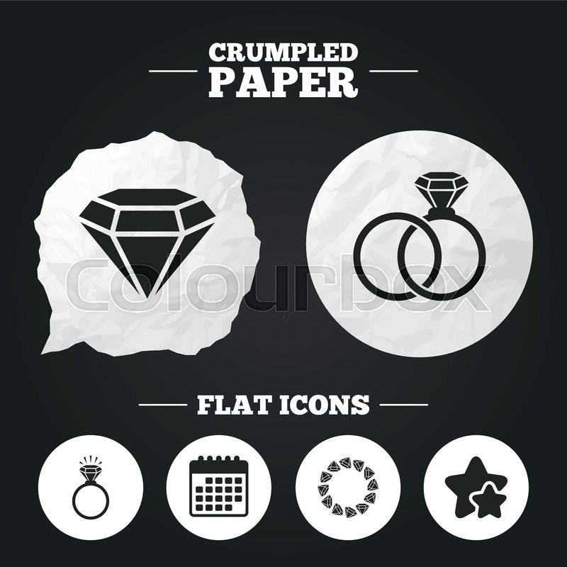 Crumpled Paper Speech Bubble Rings Icons Jewelry With Shine Diamond Signs Wedding Or Engagement Symbols Button Vector