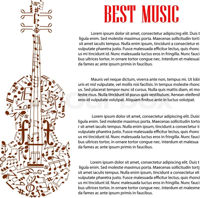 Musical Design Template With Silhouette Of Violin Made Up Of Brown