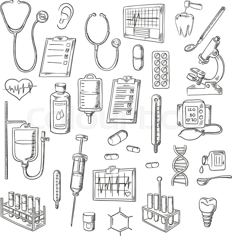 Sketched stethoscopes thermometers and syringes medicines test sketched stethoscopes thermometers and syringes medicines test tubes and drip chambers microscope heart and ear dentist tools tooth implant ccuart Images