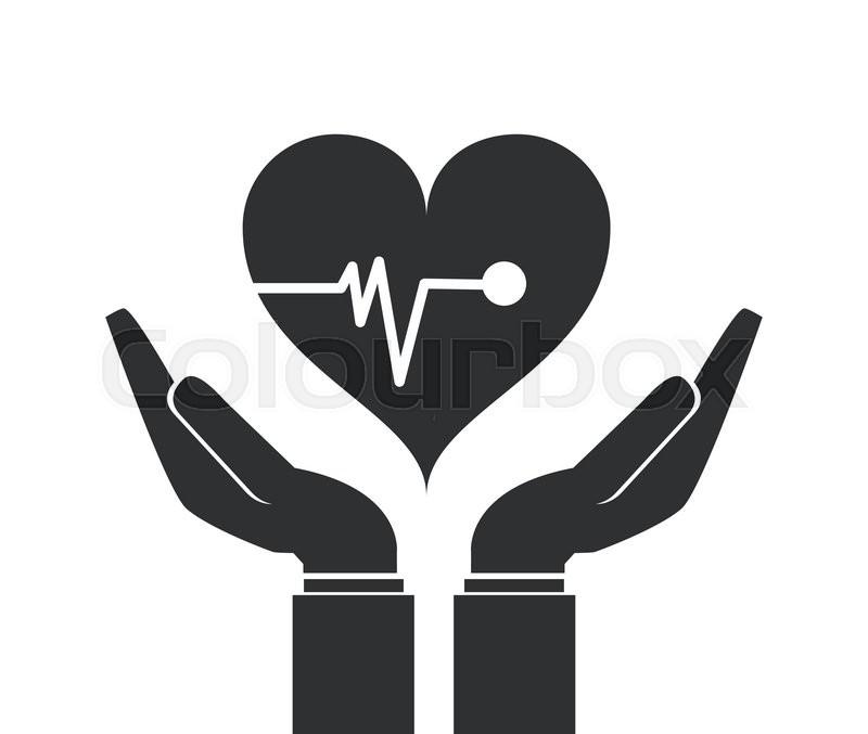 flat design shelter hand health icon vector illustration