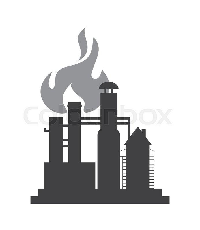 Flat Design Oil Refinery Icon Vector Illustration Stock