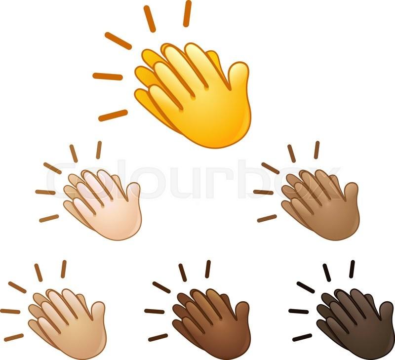 clapping hands sign emoji set of various skin tones stock vector